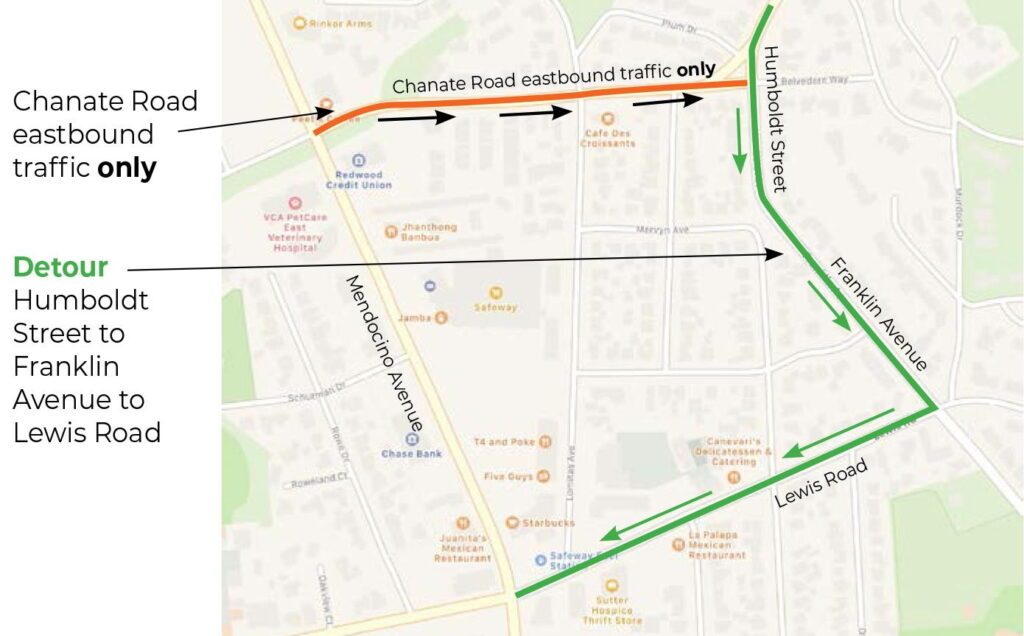Westbound Chanate Road Traffic Detour April 26 – May 3, 2021